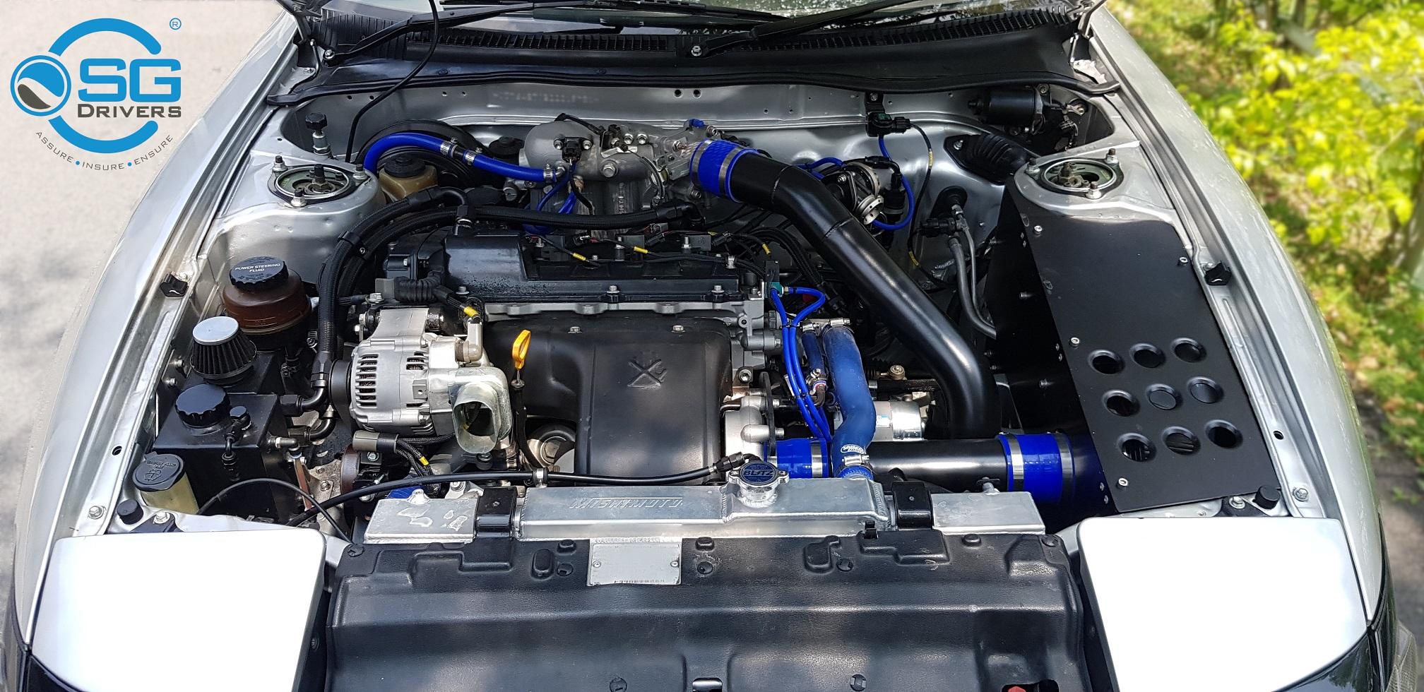 Toyota Celica ST185 Singapore Silver 3sgte engine bay CS edition